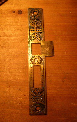 Ornate Victorian Bronze Entry Mortise Strike Plate Hardware Circa 1880