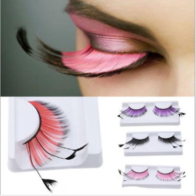 1 Pair Long Costume Feather Exaggerated Party Fake False Eyelashes Eye Lashes UK