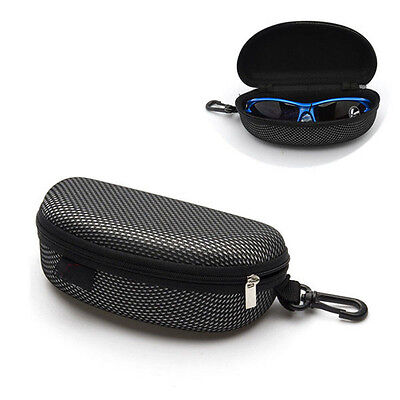 Portable Black Zipper Eye Glasses Sunglasses Clam Shell Hard Case Protector Box