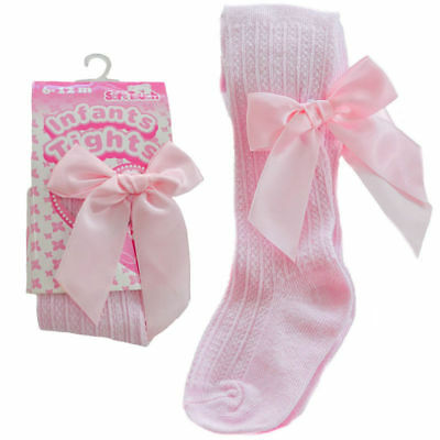 1 x baby girls Spanish style ribbon bow  tights pink 0-3 months BNWT