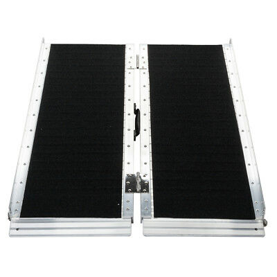 "36"" x 28"" Non-Skid Aluminum Wheelchair Loading Traction Ramp 3' Foldable 600lbs"