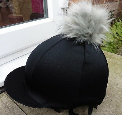 Riding Hat Silk skull cap cover BLACK  - Silver Grey Extra Large Faux Fur Pompom