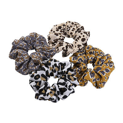 2PCS Women Elastic Leopard Scrunchies Hair Bow Ties Ring Rope Ponytail Holder