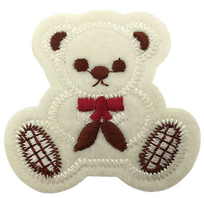 Cute White Teddy Bear 5.5cm Patch Embroidered Sew or Iron on Badge