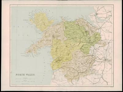"1865 - Original Antique Map of ""NORTH WALES"" Irish Sea Anglesey (7)"