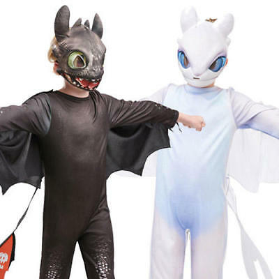 How To Train Your Dragon Kids Fancy Dress Toothless Light Fury Boy Girl Costumes