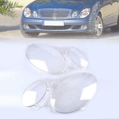 Pair Headlight Lamp Clear Lens Lense Plastic Cover for Benz E-Class W211 2003-09