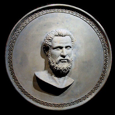 Hippocrates ancient Greek Doctor large round Wall Relief Sculpture Plaque