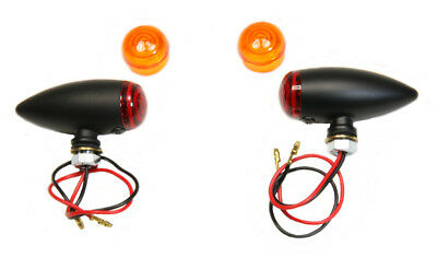 Flat Black Bullet Lights Smooth Housing Amber & Red Lenses Motorcycle Harley