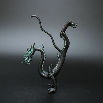 Collection Decoration Chinese Bronze Carving Vivid Dragon Statue