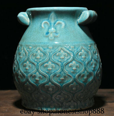 "8"" Collect Chinese Old Blue Glaze Porcelain Dynasty Palace Round Pot Jar Crock"