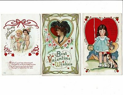 3 Card Lot, Valentine's Day Holiday, Cupid as Artist, Lady in Heart, Girl & Dog!