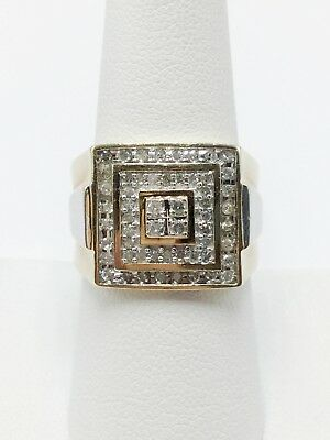 14K Yellow and White Gold Men's Size 7.75 Diamond Cluster Statement Ring .56tcw