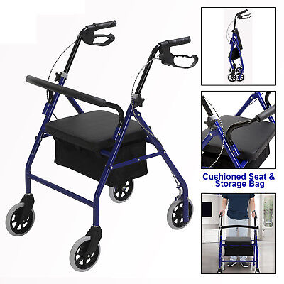 """6"""" Casters Drive Medical Rollator with Fold Up Back Support Padded Seat Blue"""