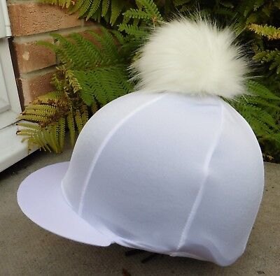 Lycra Riding Hat Silk skull cap cover WHITE with Extra Large Faux Fur Pompom