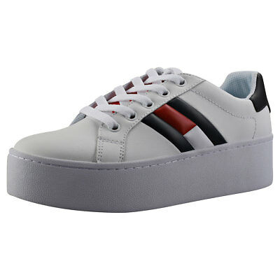 4995c1dc43e WOMENS TOMMY HILFIGER Essential Sneakers White Trainers Shoes - EUR ...