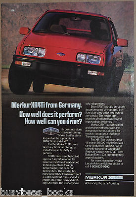 1987 MERKUR XR4Ti advertisement, Mercury Merkur XR4Ti, Ford Lincoln import