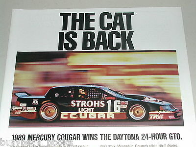 1989 Mercury COUGAR advertisement, 24hr GTO endurance race car Daytona