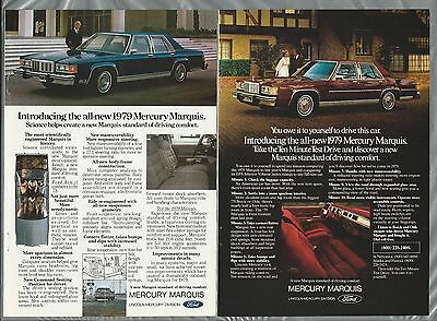 1979 MERCURY MARQUIS advertisement x2, Ford ad, Mercury Marquis sedan