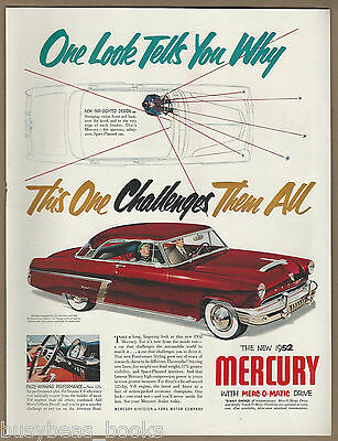 1952 MERCURY MONTEREY advertisement, red hardtop coupe Large size advert