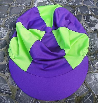 Lycra Riding Hat Silk Skull cap Cover PURPLE & LIME GREEN With OR without Pompom
