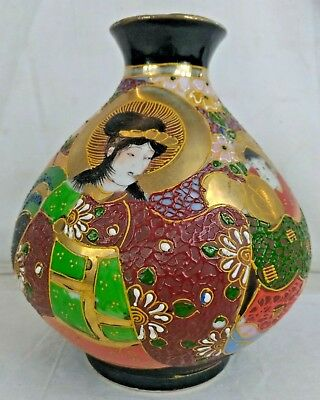 Ancien VASE Porcelaine Japonais Style SATSUMA Geishas Costume Traditionnel Art S