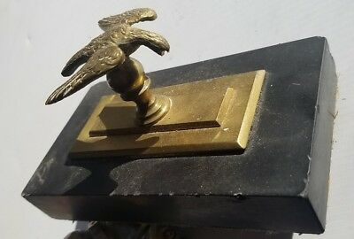 1876 brass and stone eagle paperweight antique
