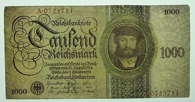 1000 Reichsmark Banknote 1924 Udr.-Bst. A  , A0725711