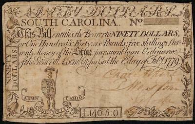 Feb 8, 1779 $90 South Carolina Colonial Currency Note Paper Money Sc-158 Pmg 25