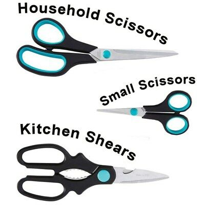 3pc Household Scissor Set Small Combination Shears Crafts Cutting Tools Handles