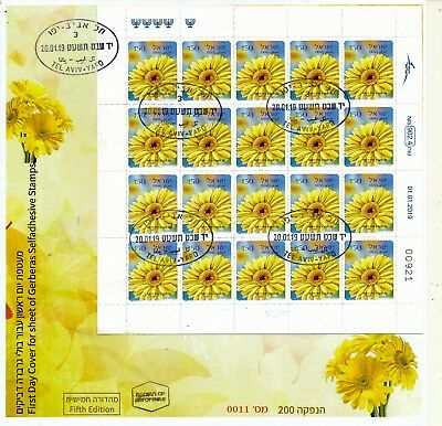 ISRAEL 2019 FLORA GERBERA 0.50 5th EDITION BOOKLET FDC