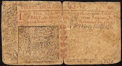 NOV 20, 1757 NEW JERSEY COLONIAL CURRENCY 30s NOTE PAPER MONEY NJ-111 RARE Fr #