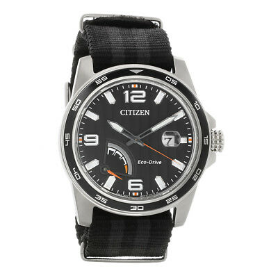 Citizen Eco Drive Mens PRT Black Dial Stainless Steel Watch AW7030-06E