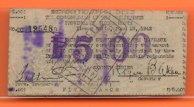Philippines~1942~5 Pesos Note~Ilocos Norte Province~Emergency Issue Note#19548D