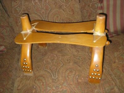 Vintage Mid Century 50's Wooden Western Cowboy Saddle Foot Stool w/studded