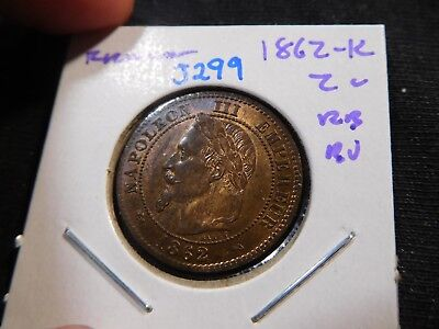 J299 France 1862-K 2 Centimes BU Red Brown