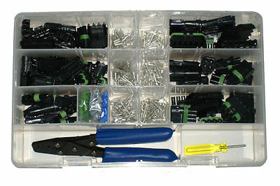 450pc Jumbo Genuine Delphi Weather Pack Sealed Connector Wiring Kit w/ Crimper