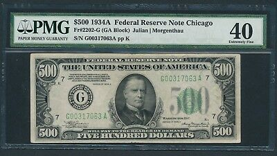 Series 1934A $500 Five Hundred Dollar Bill Currency Cash Note Money PMG EF 40