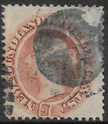 NEWFOUNDLAND 1865 12c red-brown thin yellowish paper, used. SG 28. Cat.£150.