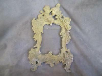 Antique Cast Metal Picture Frame Ornate Scroll With Cherub ksb4