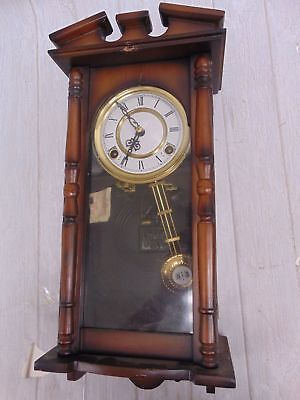 Small Vintage Wooden WALL CLOCK Decorative Wooden Case Pendulum Chimes - S75