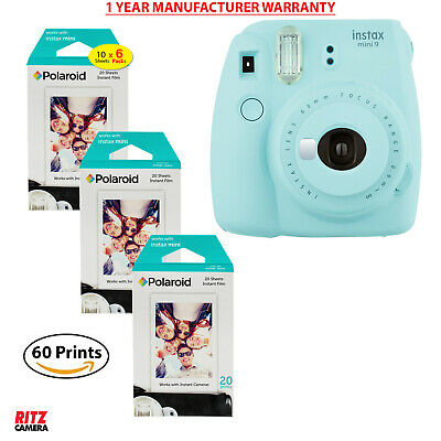 Fujifilm Instax Mini 9 Instant Camera (Ice Blue), 3x Twin Pack Instant Film
