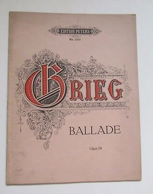 Grieg Ballade Op. 24 vintage music for piano