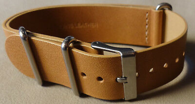 New Mens Easy ONE PIECE 20mm LONG Timex Watch Band Tan Leather Weekender