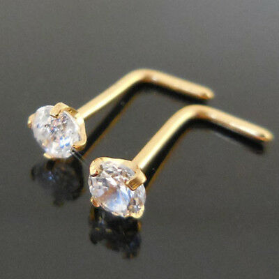 Pair Prong Set Gold Tone Stainless 18G 20G L Shaped Bone Nose Rings Body Jewelry