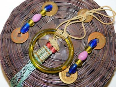 Vintage ASIAN Oriental Bamboo SEWING BASKET Chinese Coins Glass Beads Ring 6.25""