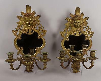 Antique 19thC French Bronze Medallion Head Figural Candle Mirror Wall Sconce