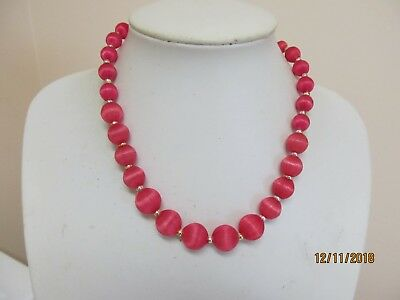 """Vintage 16"""" Pink Silk Wrapped Graduated Necklace"""