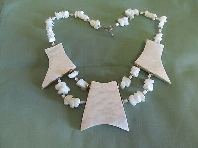 """Unusual 18"""" Necklace With Polished Stone & Large Reflective Pieces"""