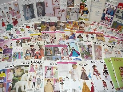 Vintage Craft Sewing Patterns, Doll & Baby Doll Clothes,Doll Crafts, U-Pick #102